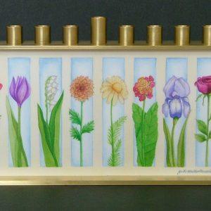 8 Flowers Chanukah Menorah