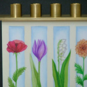 8 Flowers Chanukah Menorah detail copy