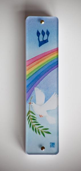 Dove with Rainbow Mezuzah Case